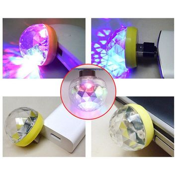 Mini Disco Party Light Ball Mobile Phone USB Sound Control Crystal Magic Lamp 3W