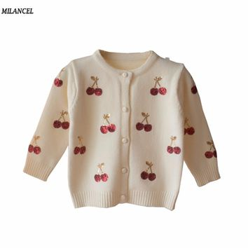Milancel Cherry Knitted Baby Girls Sweaters Kids Spring Sweater Children Cardigan Girls Sequined Outerwear Clothes