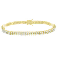 Ladies Solitaire Tennis Bracelet Round Cut Link  Lab Diamond