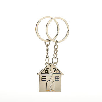 Key Chains Romantic House Keychain Personalized Souvenirs Lanyard Keyring Valentine's Day Love Key Fob Gift SM6