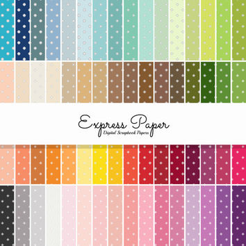 SALE 64 White Small Dot Pattern Digital Papers- 12x12 and 8.5x11 included-Digital Paper Rainbow includes dark, bright, neutral and pastel