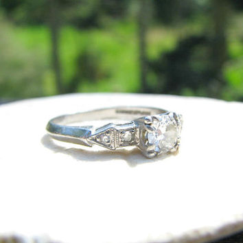 1930's Art Deco Diamond Engagement Ring, Fiery European Cut Diamond in Platinum, Charming Design and Details