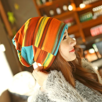 New Arrival 3 Use Hat Knitted Scarf & Winter Hats for Women Striped Beanies Hip-hot Headband Skullies Girls Gorros Women Beanies