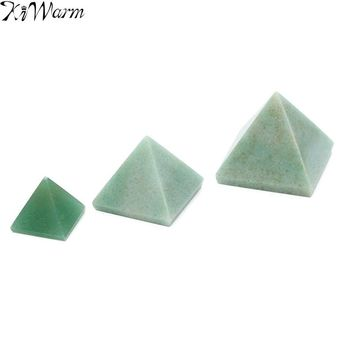 1PC 15/25/50mm Exquisite Natural Green Crystal Pyramid Stone Healing Orgone Feng Shui Gemstone for Home Decoration Crafts Gift