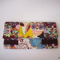 Folklorico Sugar Skulls and Burgundy Floral Fashion Bifold Wide Women's Cotton Wallet