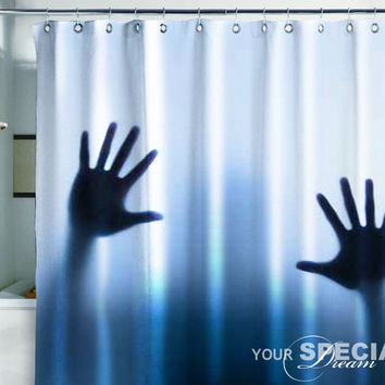 Bath Shower Curtain hands horror scream phantom ghost film cinema horror