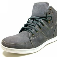 Mens Gray Delli Aldo Fashion High Top Lace Sneaker Styled in Italy