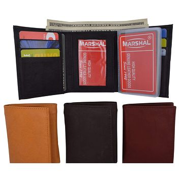 Leather Mens Trifold Wallet Zipper Money Compartment 55 CF