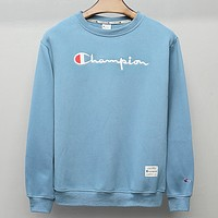 Champion Fashion new embroidery letter couple leisure keep warm long sleeve top sweater Blue
