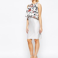 Hope and Ivy 2 in 1 Midi Dress with Poppy Print