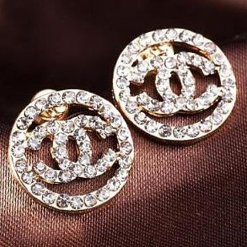 Chanel 2018 female popular logo fashion round full diamond hollow temperament earrings F-QSSP-DP Gold