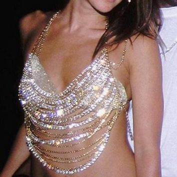 """Vegas"" diamond Body Chain Bra Top"
