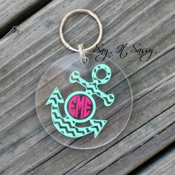 Chevron Anchor Circle Monogram Keychain Acrylic Personalized Key Chain