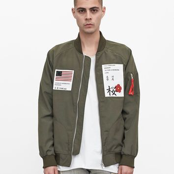 Aeronautics Nylon Flight Jacket in Olive