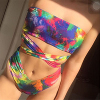 2017 New Multicolor High Cut Strapless Swimwear -Daniel03116