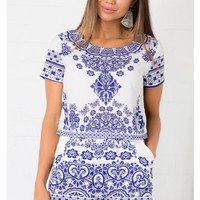 Porcelain Dreamer Two Piece Set in Blue Print