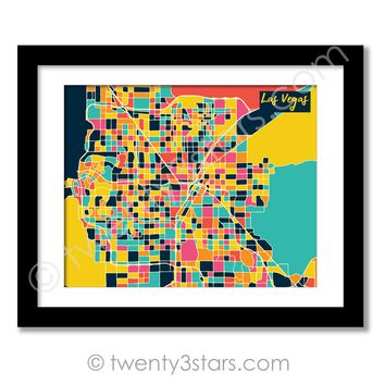 Las Vegas, Nevada Street Map Wall Art - Choose Any Colors - twenty3stars