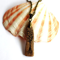 Tree of Life  Wooden Pendant Reclaimed Wood Necklace Eco Friendly Sustainable Jewelry by Hendywood