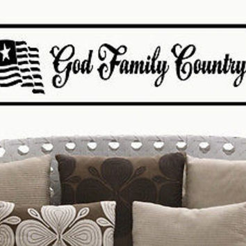 Family - God - Country quote wall sticker quote decal wall art decor 6209