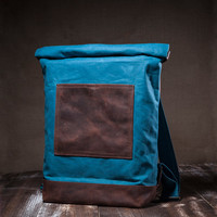 Waxed canvas rucksack - roll top bag - carry all backpack - waxed canvas bag - waxed rucksack - blue lagoon - waterproof lining