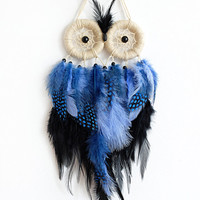 DreamCatcher, Owl Dreamcatcher, Boho Dreamcatcher, Handmade, Wall Hanging, Home Decor, Feathers , Gypsy
