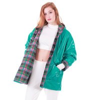 90s Vintage PVC Raincoat Turquoise Hooded Quilted Shiny Wet Look Wippette Vinyl Winter Rain Jacket Clothing Women Size Medium Large
