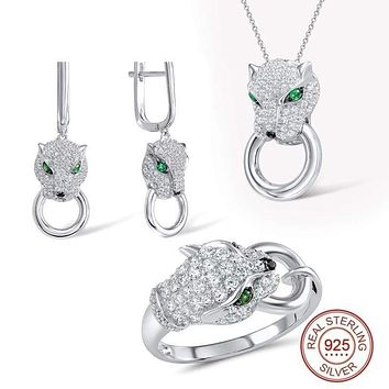Panther Personality Unique  Ring Earrings Pendant Set White CZ 925 Sterling Silver Jewelry Set