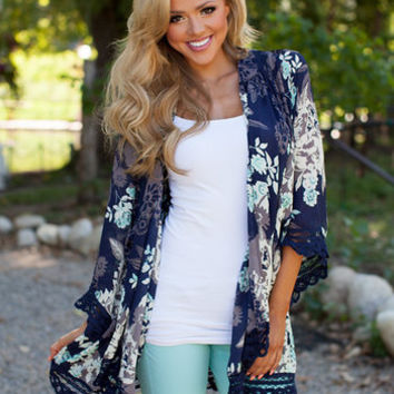 fd84a7b1b Navy/Ivory Floral Print Kimono from Modern Vintage Boutique