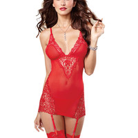 Entrancing Mesh and Venetian Lace Garter Slip