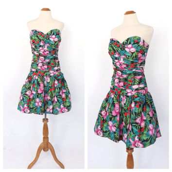 Size Large Vintage 1980s Strapless Sculpture Dress Avant Garde Party Dress Floral Tiki Dress 1950s Marilyn Monroe Prom Mini Hipster Dress