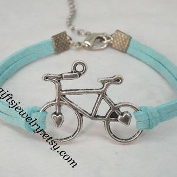 Bicycle Bracelet -Bike Charm Bracelet,Travel Around the World - His and Hers,Gift for Her,Gift for Him,Friendship,Mint green