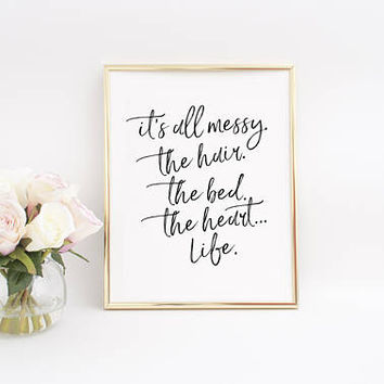 Bedroom Decor,Bedroom Wall Art,Inspirational Poster,Bless this Mess,Bedroom Print,Girls Room Decor,Makeup Print,Makeup Quote,Fashion Art