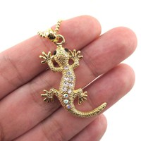 Rhinestone Gecko Lizard Shaped Pendant Necklace in Gold | DOTOLY