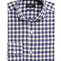 'Dwayne' | Slim Fit, Spread Collar Cotton Check Dress Shirt