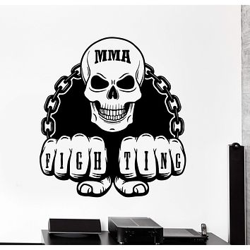 Wall Vinyl Decal MMA Martial Arts Fighting Tattoo Skull Home Interior Decor Unique Gift z4162