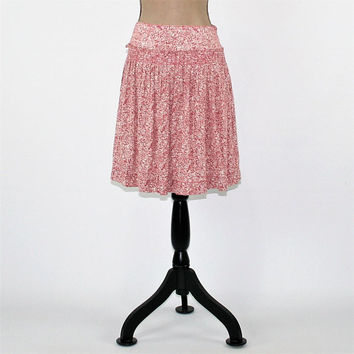 Boho Skirt Women Medium Full Skirt Rayon Drop Waist Skirt Pink White Floral Print Skirt Short Skirt Boho Clothing Womens Clothing