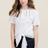 Mary Embroidered Poplin Tie Front Top
