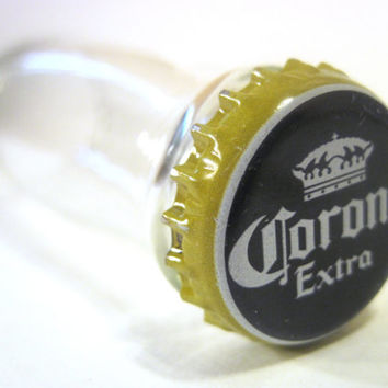 Shot glass handmade from a cut recycled Corona Coronita beer bottle