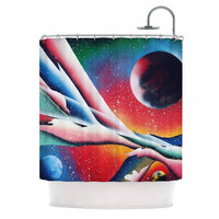 "Infinite Spray Art ""String Theory "" Red Blue Shower Curtain"