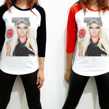 Unisex - Nicki Minaj Candy Billboard Music Men Women Long Sleeve Baseball Shirt Tshirt Jersey
