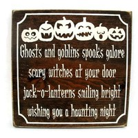 Halloween Rustic Wood Sign Wall Hanging Home Decor  (#1219)