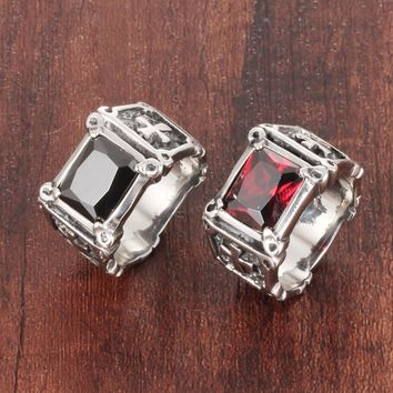 Glamour Fashion Stainless Steel Wedding Bands Crystal Big Ring With Cross Black And Red Punk Jewelry For Men Unique Gifts