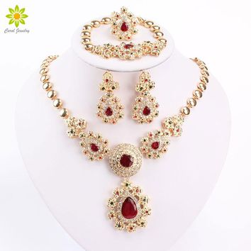 Fine Jewelry Sets For Women Wedding Accessories African Beads Party Gift Gold Color Crystal Necklace Earrings Sets