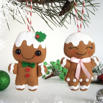 felt christmas ornaments set of 2 gingerbread man felt new year ornament decor christmas tree decorations - Gingerbread Christmas Tree Decorations