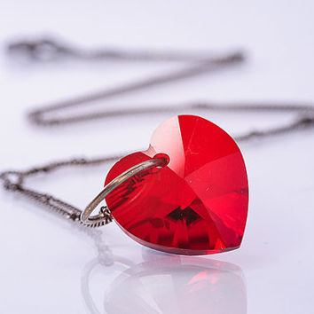 Swarovski Heart Pendant Necklace Red Heart Jewelry Romantic Jewelry Gift For Her
