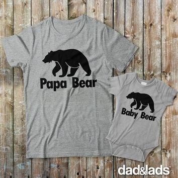 Papa Bear and Baby Bear Father Son Matching Shirts