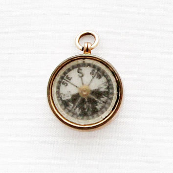 Antique British 9ct Gold Compass Charm / Blood Stone Compass Jewelry