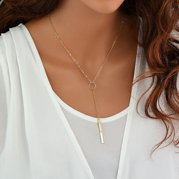 SALE Y Necklace Gold, Y Drop Necklace Lariat, Vertical Bar Necklace, Circle Necklace, Silver Lariat Necklace, Rose Gold Drop Necklace