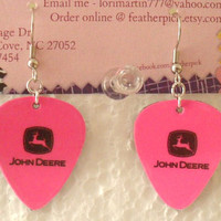 Pink JOHN DEERE guitar pick earrings with black logo