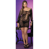 Women's Long Sleeve Lace Mini Dress: Black-Plus Size